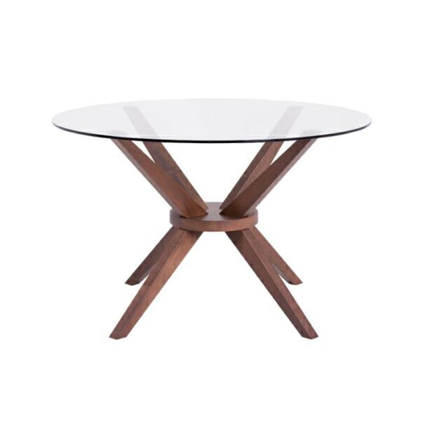 Кръгла трапезна маса със стъклен плот Дантон