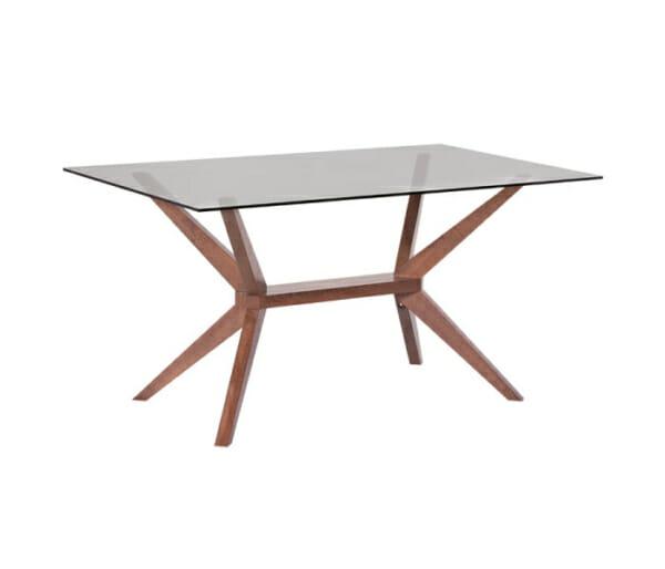 Правоъгълна трапезна маса със стъклен плот Натали