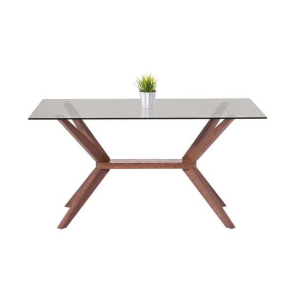 Правоъгълна трапезна маса със стъклен плот Натали-снимка отстрани