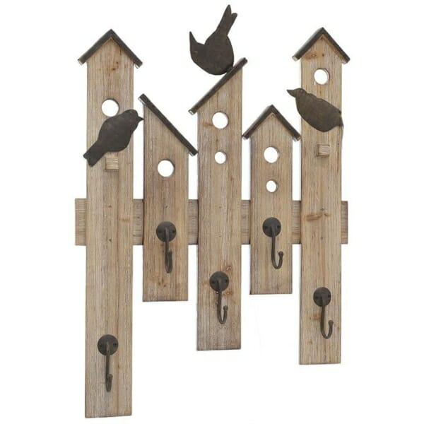 Стенна закачалка от дърво като къщички за птици