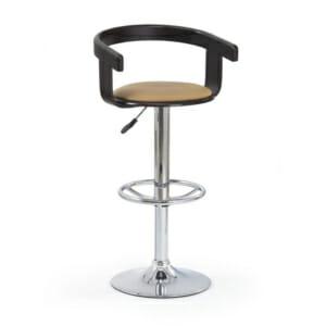 Бар стол с кръгла метална основа и дървена облегалка