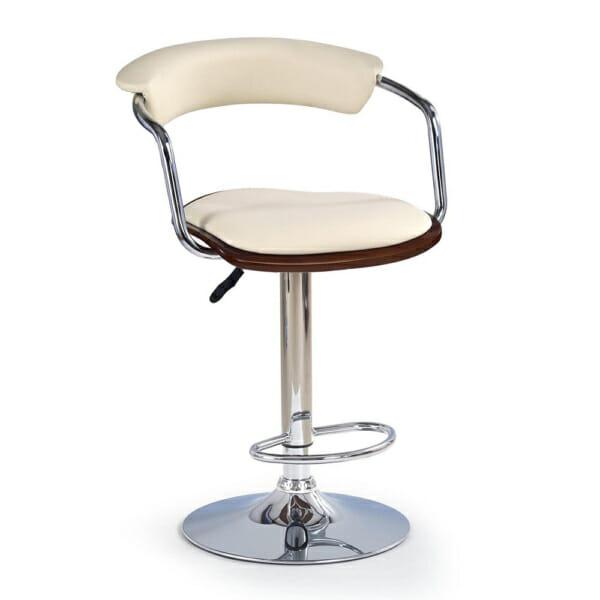 Бар стол с ринг за крака и седалка от еко кожа в цвят крем