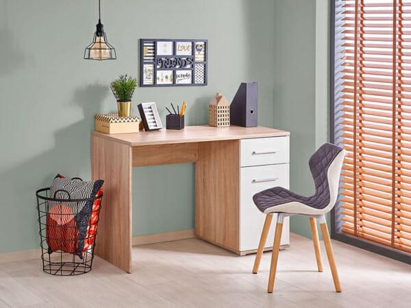 Бюро с едно чекмедже и един шкаф, дъб сонома и бяло