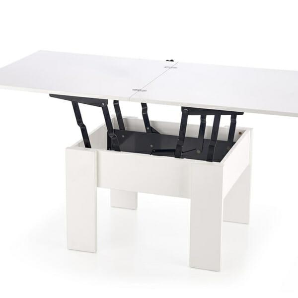 Бяла разтегателна холна маса с повдигащ механизъм-1