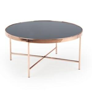 Голяма кръгла холна маса с черно стъкло