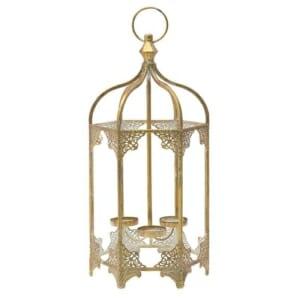 Декоративен фенер от метал в блестящо златно