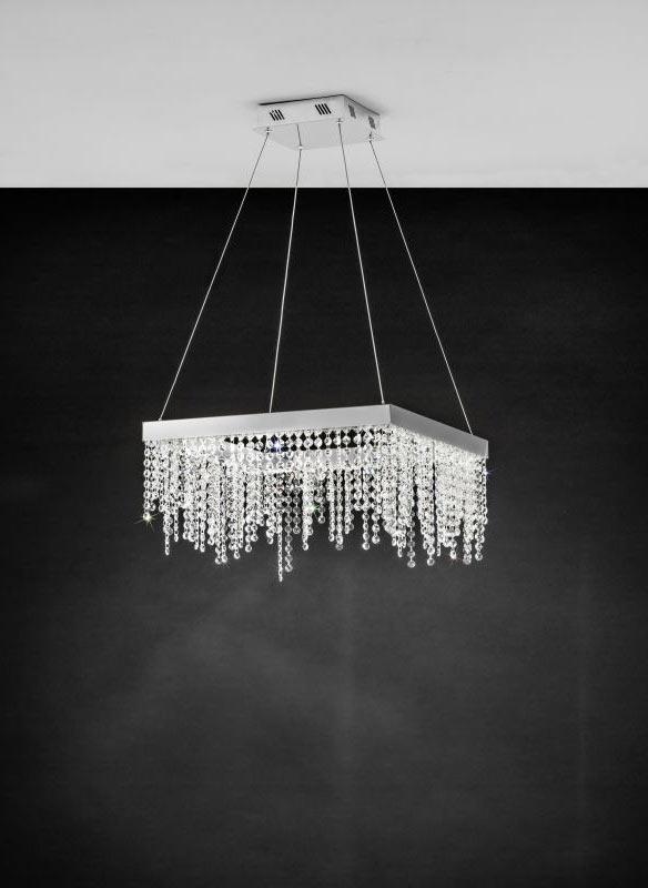 Квадратен полилей за хол с кристални висулки серия Antelao-монтирано
