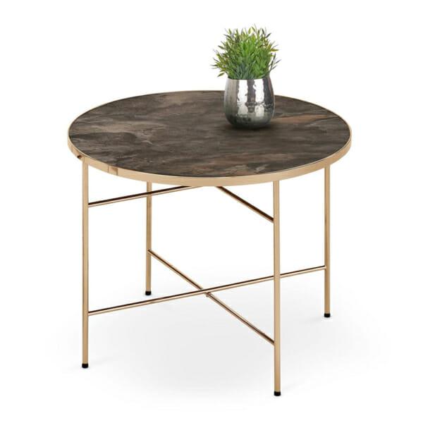 Кръгла маса с плот имитиращ тъмен мрамор Изабел