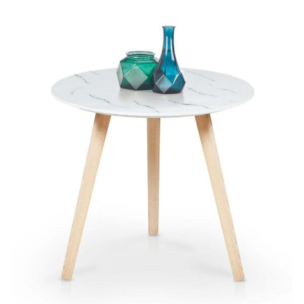 Кръгла холна маса с плот имитиращ бял мрамор