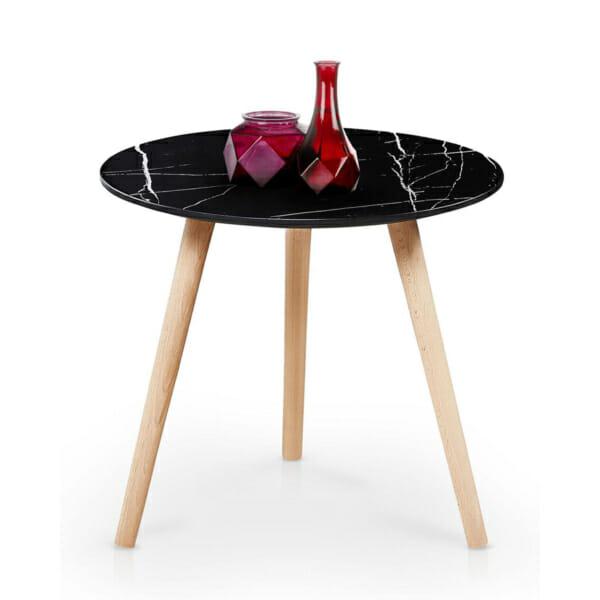 Кръгла холна маса с плот имитиращ черен мрамор