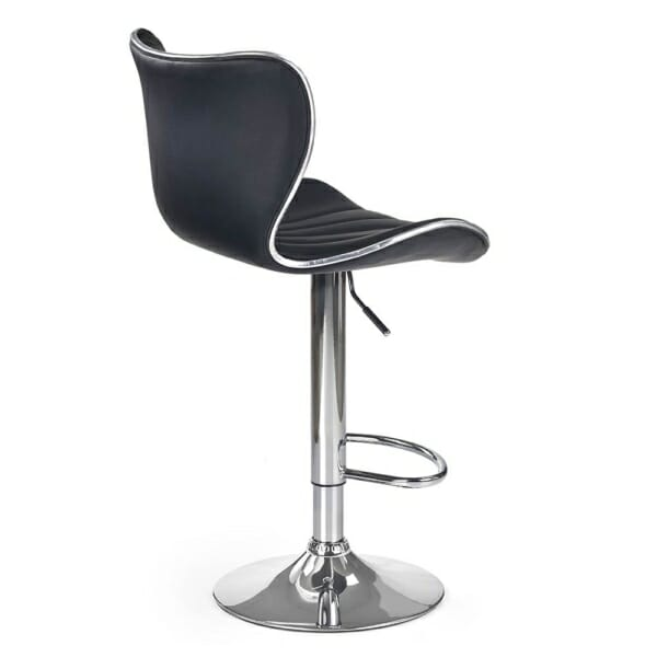 Луксозен бар стол от еко кожа с метална основа-снимка отзад