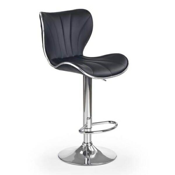 Луксозен бар стол от еко кожа с метална основа