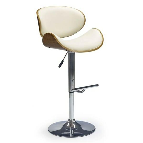 Модерен бар стол с извити облегалка и седалка - цвят крем