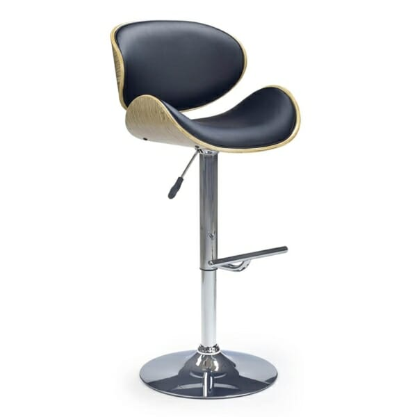 Модерен бар стол с извити облегалка и седалка - черен