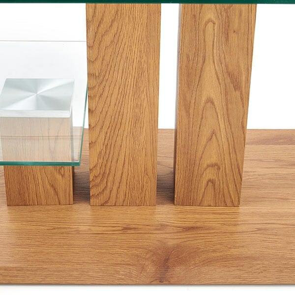 Модерна холна маса с два различни стъклени плота-основа