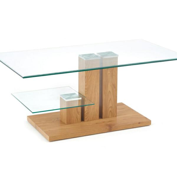 Модерна холна маса с два различни стъклени плота