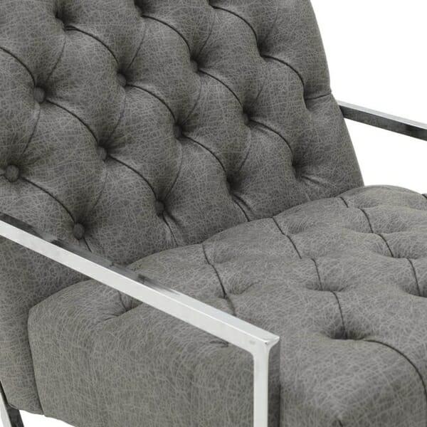 Модерно кресло в сиво и сребристо - отблизо