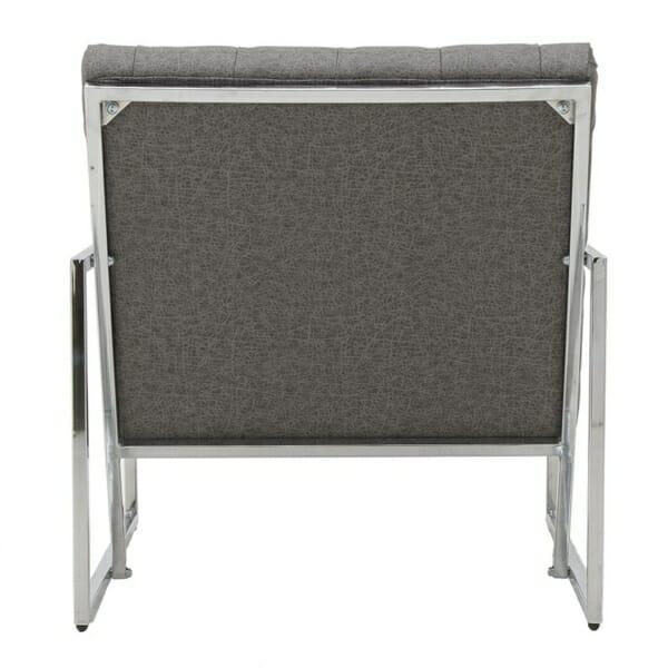 Модерно кресло в сиво и сребристо - отзад