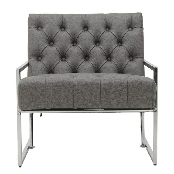 Модерно кресло в сиво и сребристо - отпред