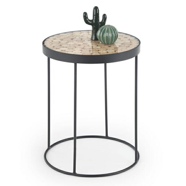 Помощна маса от дърво стъкло и метал Натур