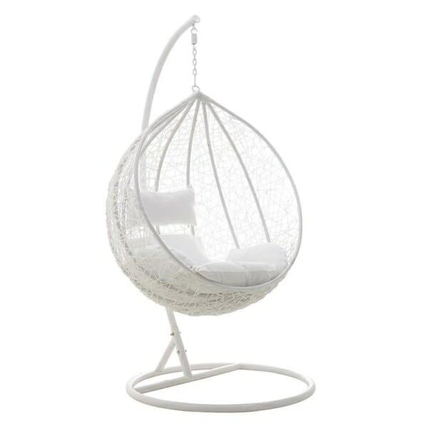 Сферичен бял висящ стол на стойка
