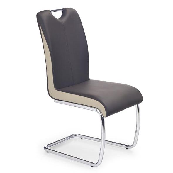 Трапезен стол от еко кожа в кафяво и бежово