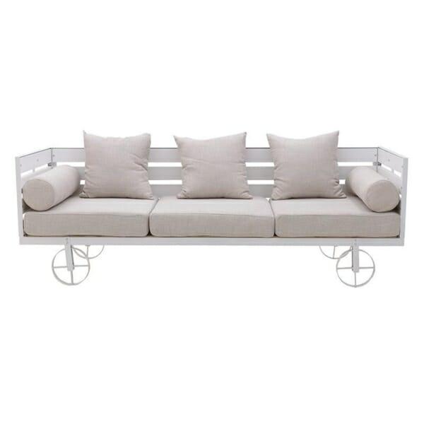 Триместен диван с оригинален дизайн в бяло - отпред