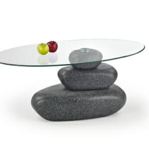 Холна маса имитираща естествени камъни със стъклен плот