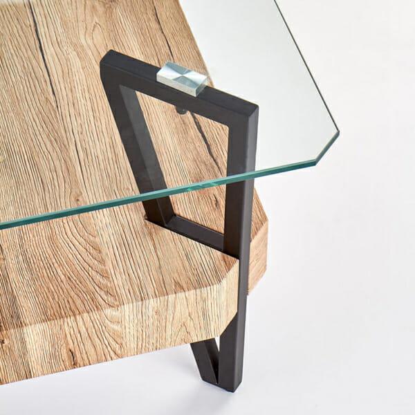 Холна маса със стъклен горен и дървен долен плот-снимка отблизо