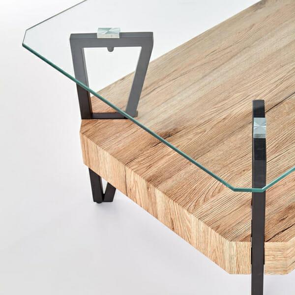 Холна маса със стъклен горен и дървен долен плот-снимка отгоре