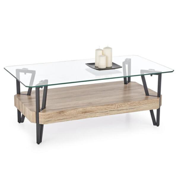 Холна маса със стъклен горен и дървен долен плот