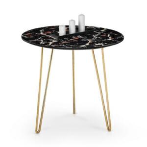 Холна маса с плот имитиращ тъмен мрамор и крака в златно