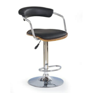 Черен бар стол с ринг за крака и седалка от еко кожа