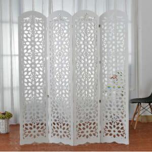 Бял полупрозрачен параван на цветя
