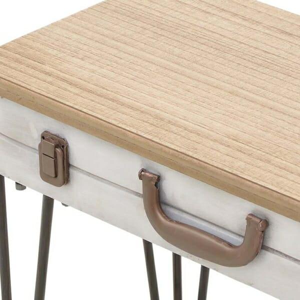 Дървена помощна маса с крака и декоративни елементи от метал