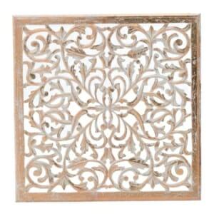 Квадратно пано за стена с фина дърворезба в топли тонове