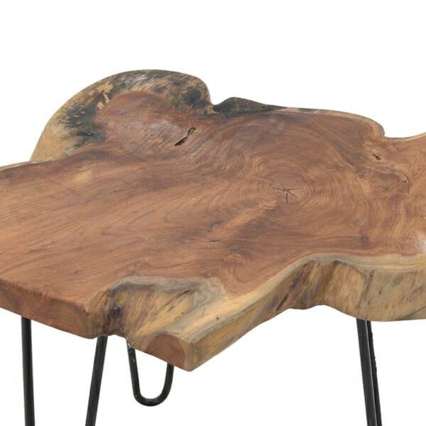 Масичка за кафе с естествен дърввен плот и метални крака