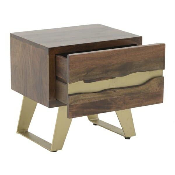 Нощно шкафче от дърво със златни акценти Golden Mango
