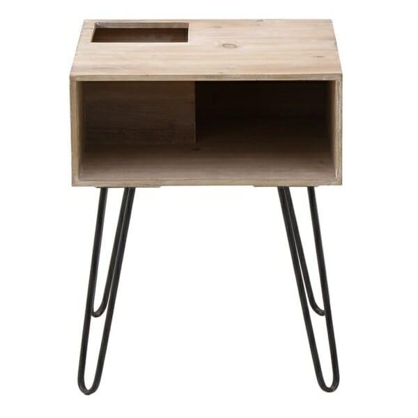 Нощно шкафче от дърво с 4 метални крака в черно