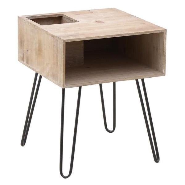 Нощно шкафче от дърво с 4 метални крака