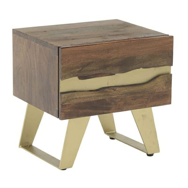 Нощно шкафче от натурално дърво със златни акценти Golden Mango