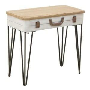 Помощна маса с дървен плот като куфар и метални крака