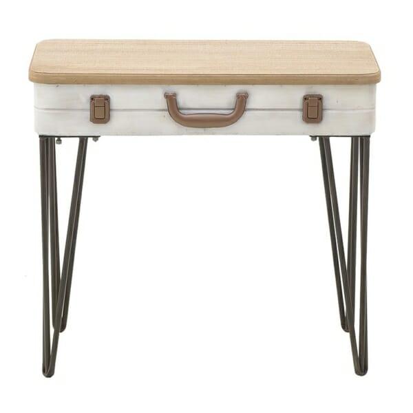 Помощна маса с плот като куфар и метални крака