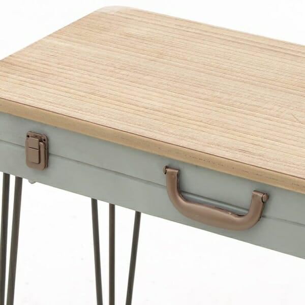 Правоъгълна конзолна маса куфар от дърво и метал