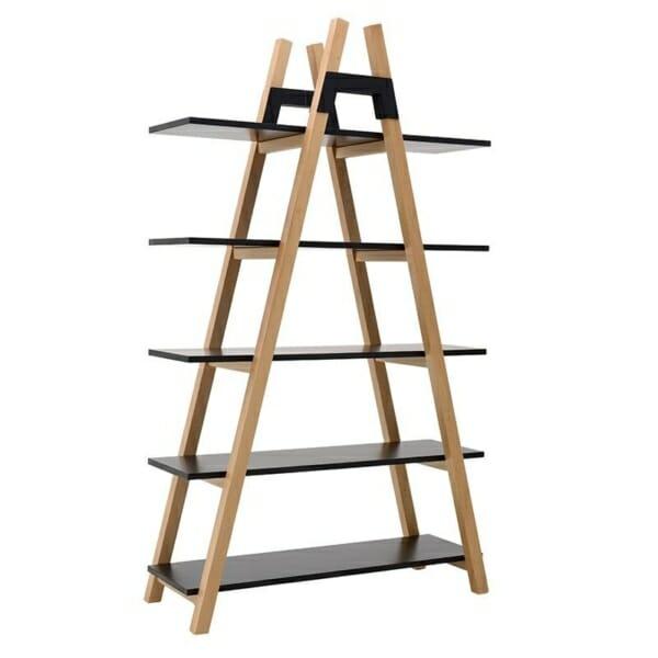 Триъгълна етажерка като стълба в черно