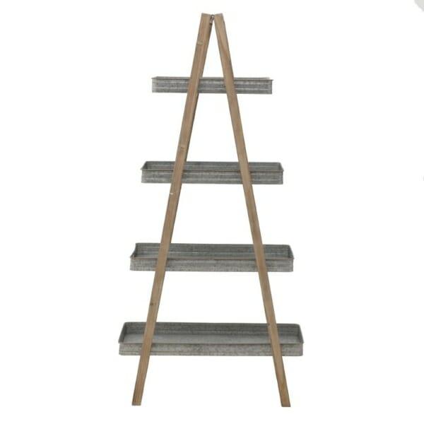 Триъгълна етажерка стълба от метал и дърво