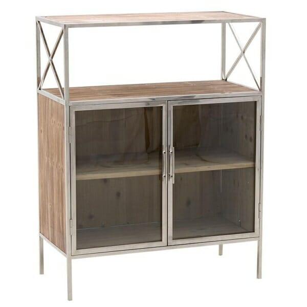 Шкаф витрина с метален обков и 4 рафта с и без вратички