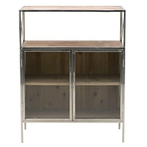 Шкаф витрина с метален обков и 4 рафта