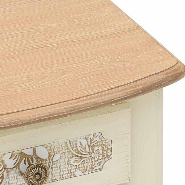 Бяло нощно шкафче с чекмеджета и бежов плот Flora