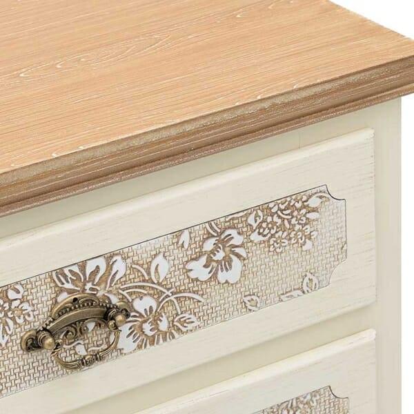 Висок дървен шкаф в бежово и бяло Flora